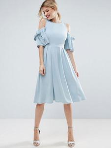 Image of Vestito plissettato artistico blu donna con scollo tondo maniche corte modellante abbigliamento giornaliero cotone misto