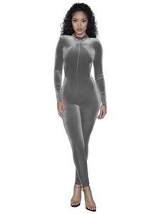 Image of Vestito delle donne in velluto Maglia in grigio argento con colletto a lunga vita senza schienale Slim Fit Slim