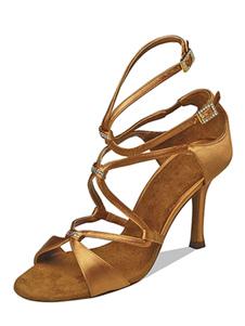 Chaussures d'occasion 2018 Chaussures de danse Satin talon aiguille Bout ouvert Chaussures de bal