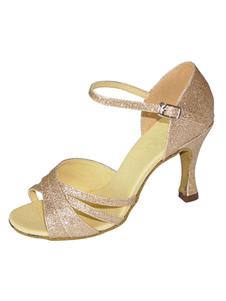 Danse paillettes chaussures talon aiguille bout ouvert souple rose bouclée Ballroom Shoes