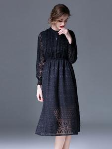 Vestito in pizzo nero con colletto alla coreana maniche lunghe pizzo donna