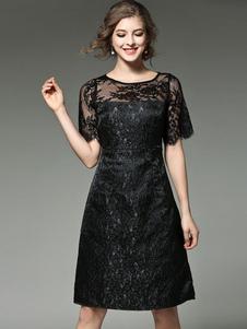 Vestito plissettato nero pizzo di poliestere maniche corte con scollo tondo con pizzo donna
