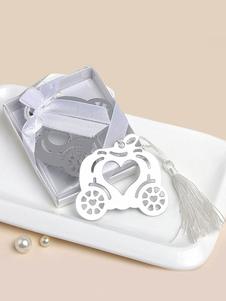 Image of Segnalibro argento cerimonia classico & tradizionale 1 Pezzo fiocchi con frange acciaio inossidabile