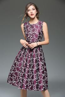 Image of Abito plissettato violo di poliestere stampa floreale cintura donna con scollo tondo smanicato elegante & lussuoso