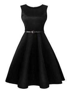 Robe Vintage noire tour de cou sans manche plissé Slim Fit Skater robe avec ceinture