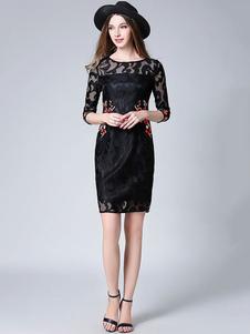 Image of Abito in pizzo donna di pizzo nero maniche a 3/4 con scollo tondo abbigliamento giornaliero