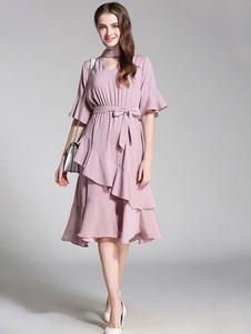 Image of Abito plissettato monocolore donna con scollo a V mezze maniche abbigliamento giornaliero in chiffon