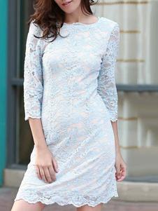 Vestito in pizzo donna di pizzo blu chiaro maniche a 3/4 con scollo tondo abbigliamento giornaliero