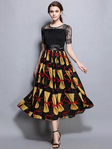 Image of Abito plissettato con stampe nero donna con scollo tondo maniche corte abbigliamento giornaliero