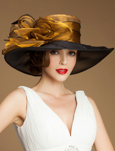 Image of Cappello Vintage Organza fiore piuma tesa larga Retro cappello d