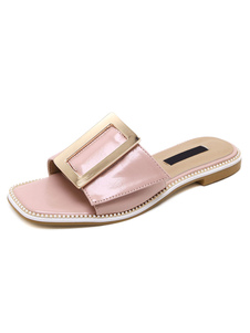 pink-flat-slippers-metallic-buckled-chic-sandal-slippers