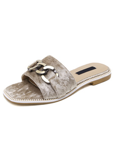 apricot-sandal-slipper-metallic-chain-detail-terry-chic-flat-slippers