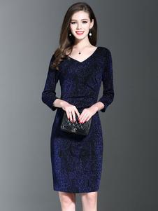 Bleu profond Bodycon Dress V Manche 3/4 longueur manches Slim Fit robe fourreau