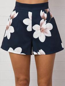 Shorts noir femmes imprimé pantalon court taille haute de jambe Loose lin