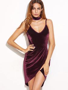 Slip U cou Spaghetti sangle haut bas dos nu drapé Bodycon Club robe des femmes