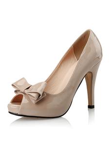 Abricot plate-forme pompes Peep Toe Bow Decor Slip sur chaussures à talon haut Stiletto