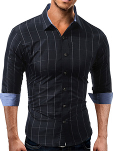 Casual chemise col Turndown manches longues Plaid homme Regular Fit Top Casual