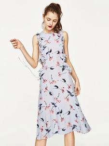 Image of Vestito da stampa floreale abiti in chiffon blu chiffon abiti da donna taglio vita