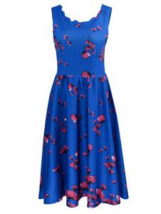 Image of Abito plissettato cotone poliestere con stampe drappeggiato donna scollatura di design smanicato chic & moderno