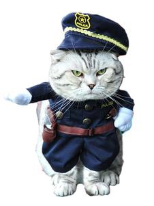 Disfraz de mascota de poliéster para mascotas de policía de azul oscuro estilo moderno para ocasión informal  Halloween