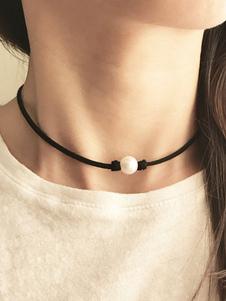 Image of Collana scamosciata nera del faux della perla della perla