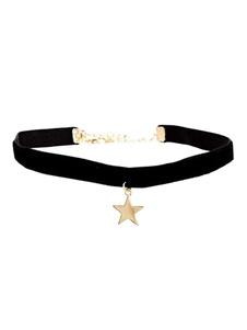 Image of Collana di velluto nera delle donne del Choker del pendente della stella