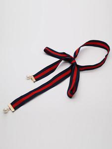 Image of Bow Bow Tie Choker Collana a strisce di nastro perlato della perla della donna