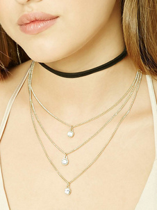 Image of Multirow Choker Collana Collana a goccia a catena stratificata da donna