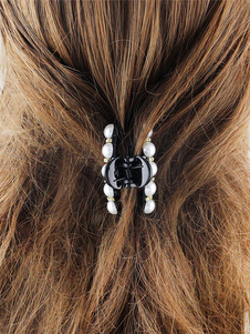 Image of Acconciatura capelli nera monocolore perle forcina chic & moderna fuori di plastica