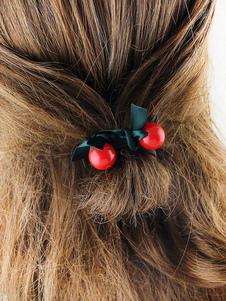 Image of Acconciatura capelli nera con fiocchi perline Cerchietto chic & moderna crociera fibra di poliestere