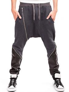 Image of Pantaloni Harem da uomo 2018 Pantaloni a blocchi di colore patchwork con cerniera nera