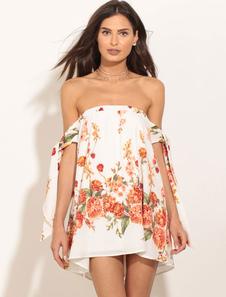 Fascinante robe droite brillant en chiffon blanc imprimé fleuri vêtements journaliers avec lacets bustier