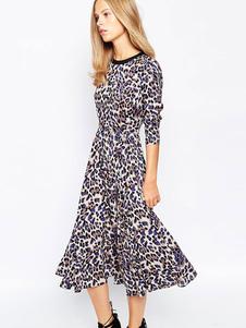 Image of Abito plissettato stampa di leopardo per ragazze con scollo tondo maniche lunghe di poliestere