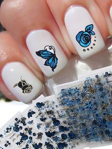 Image of Adesivi unghie blu Dito con stampe donna 24 Pezzi carta fuori