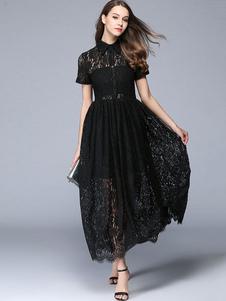 Vestito in pizzo nero di pizzo con colletto maniche corte forato plissettato donna