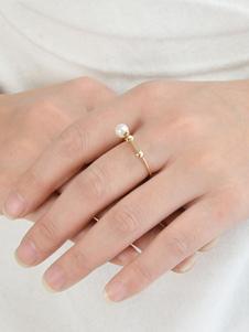 Image of Anello con perle sintetiche anello argento oro chic & moderno crociera in lega d'acciaio rotondo