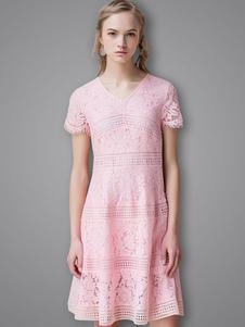 Vestito in pizzo rosa donna maniche corte con scollo a V pizzo abbigliamento giornaliero
