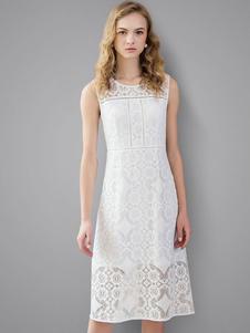 Vestito in pizzo bianco con scollo tondo smanicato pizzo abbigliamento giornaliero donna