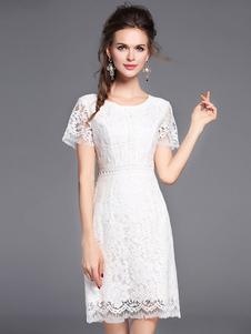 Abito in pizzo bianco donna maniche corte con scollo tondo di pizzo abbigliamento giornaliero