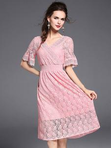 Abito in pizzo rosa di pizzo con scollo a V maniche corte abbigliamento giornaliero donna