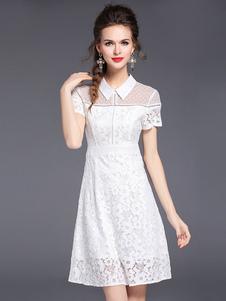 Abito in pizzo bianco di poliestere con colletto maniche corte pizzo abbigliamento giornaliero donna