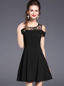 Image of Abito plissettato nero pizzo corto spandex maniche corte con scollo tondo abbigliamento giornaliero monocolore donna