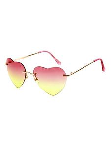Fascinantes lunettes des femmes imprimé coeur sans monture pendentif coeur