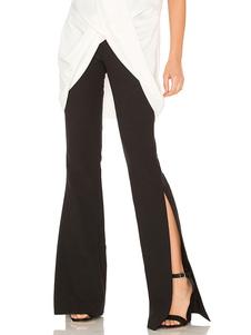 Image of        Pantaloni neri casual monocolore di poliestere spacco frontale