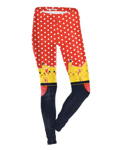 Image of Pokemon Pantaloni Skinny rosso di poliestere Anime Giapponese Pikachu per ragazze bambina  Carnevale