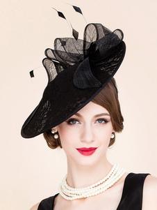 Image of Cappello nero con pizzo piume pizzo chic & moderno donna di lino film