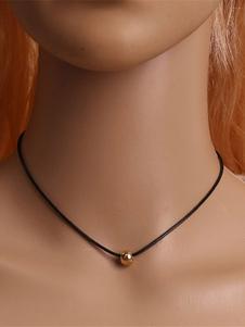 Image of Collana nera di pelle sintetica semplice intorno perline girocollo donna