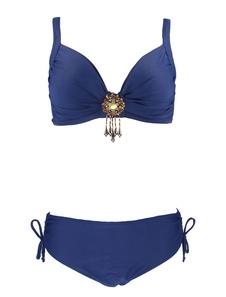 Image of Bikini da spiaggia con spalline sottili smanicato spalline regolabili semplice con annodature monocolore acrilico