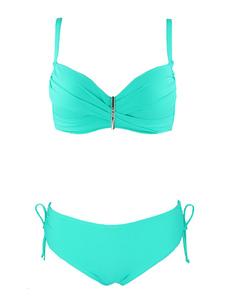 Image of Bikini da spiaggia con spalline sottili smanicato spalline regolabili semplice con decori in metallo monocolore acrilico