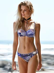 Image of Bikini 2-Pezzi violo da spiaggia spalline regolabili con stampe con spalline sottili smanicato acrilico